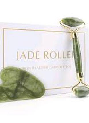 Набор нефритовый роллер для лица и скребок Гуаша Jade Roller