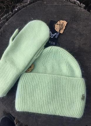 Комплект шапка варежки мятного цвета atrics ангора шерсть двойная