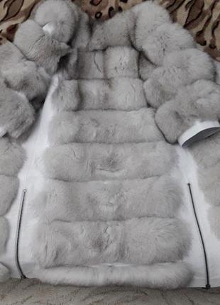 Красивая тёплая шубка из финского песца белая шуба колотый лёд