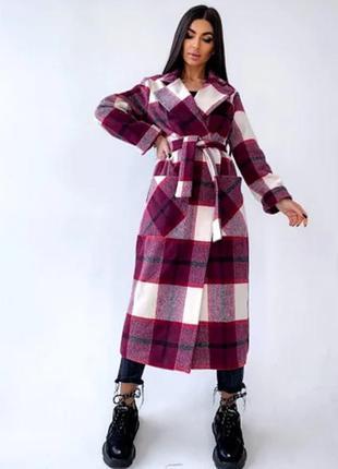 Длинное кашемировое пальто в клетку oversize