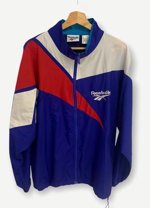 Винтажная куртка ветровка reebok мужская редкая синяя
