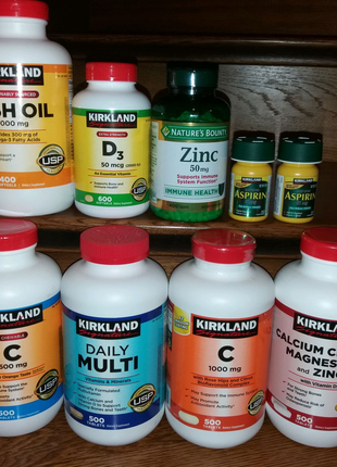 Вітаміни kirkland США:Омега 3, Д3,Е,С,кальцій,магній,цинк,мульті
