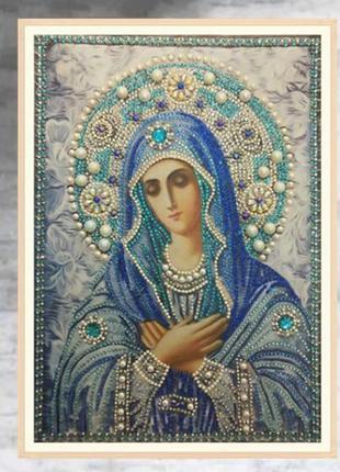 Алмазная вышивка икона божий матери, 30х40 см, зеркальные и сп...