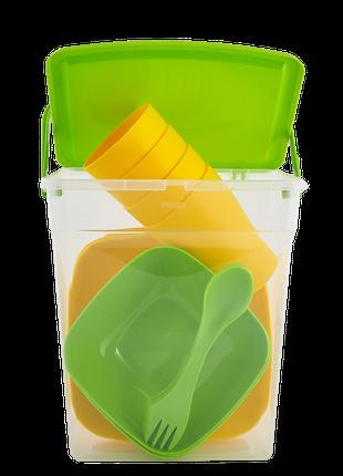 """Набор пластиковой посуды для пикника """"Подарочный"""" Алеана (олив..."""