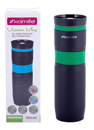 Термокружка Kamille Зеленый 900мл из нержавеющей стали с TPR-в...