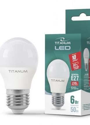 LED лампа TITANUM G45 6W E27 4100K 220V 50шт/ящ
