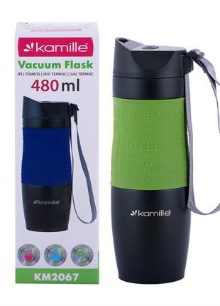 Термокружка Kamille Зеленый 480мл из нержавеющей стали KM-2067ZL