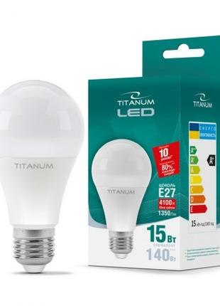 LED лампа TITANUM A65 15W E27 4100K 220V 50шт/ящ