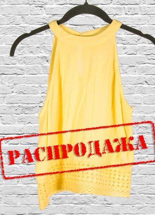 Желтая блуза без рукавов, легкая блузка кружевная