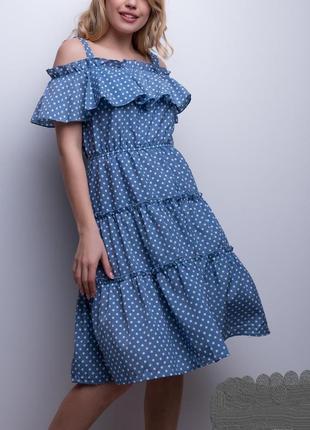 Трендовое летнее платье, сарафан в горох, воланы, оборки