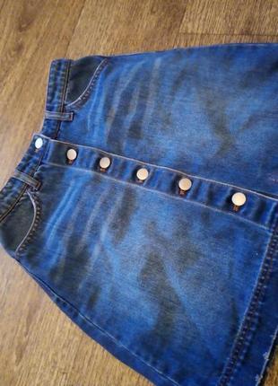 Стильная юбка трапеция джинс