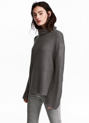 Вязаный свитер с высокой горловиной и широкими рукавами h&m дл...