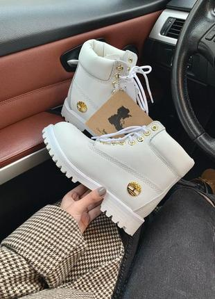 Timberland white fur зимние женские ботинки белые с мехом