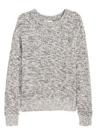 Плотный хлопковый свитер h&m вязаный серый свитер меланж