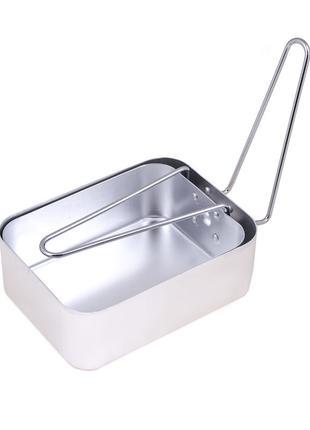 Посуда туристическая, алюминий (2 шт кастрюля-сковорода с ручк...