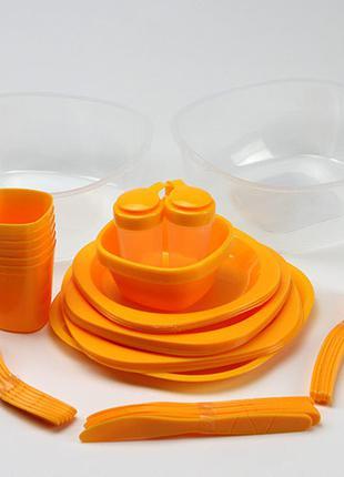 Набор туристической посуды GreenCamp, пластик, 54 предмета, ор...