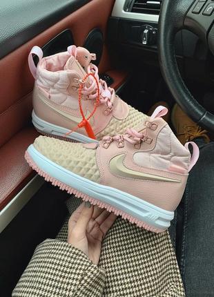 Nike lunar force 2 duckboot pink женские демисезонные кроссовк...