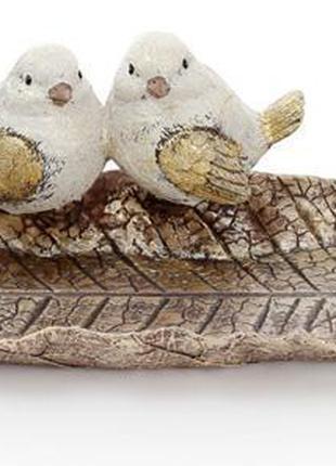 """Блюдо декоративное """"Золотые птички на листе"""" 42см, полистоун"""