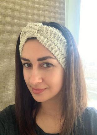 Вязаная женская мягкая повязка на голову