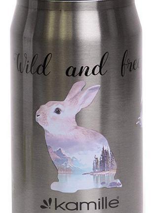 Термокружка Kamille Wild&Free; 300мл с трубочкой