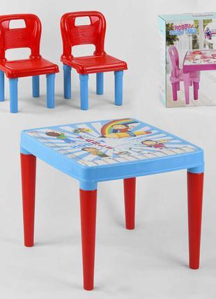 Стол с двумя стульчиками Pilsan 03-414 (3) ЦВЕТ ГОЛУБОЙ в коробке