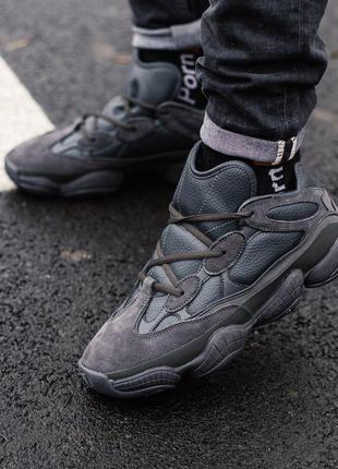 Adidas yeezy boost 500 black fur мужские зимние кроссовки чёрн...