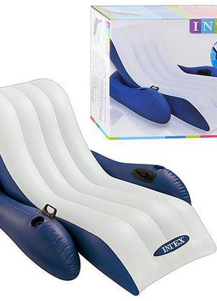 Надувное кресло шезлонг для плавания 58868 с подлокотниками