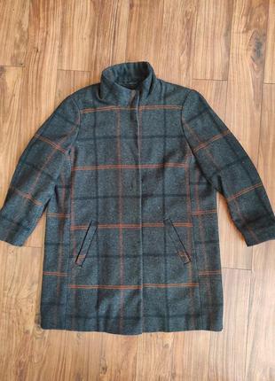 Шерстянное клетчатое пальто