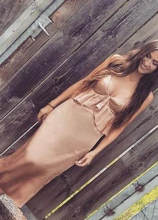 Красивое платье миди, сарафан h&m с оборками.