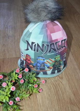 Детская зимняя шапка на флисе ниндзяго