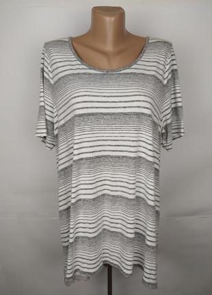 Блуза удлиненная трикотажная красивая в полоску большой размер...