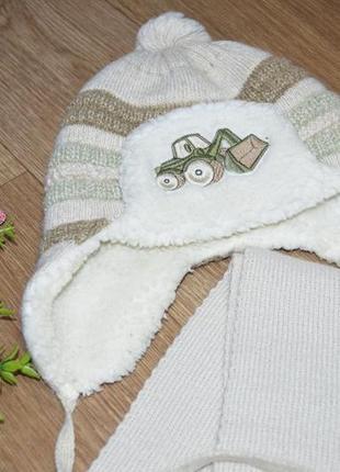 Зимний набор шапка+ шарф на мальчика
