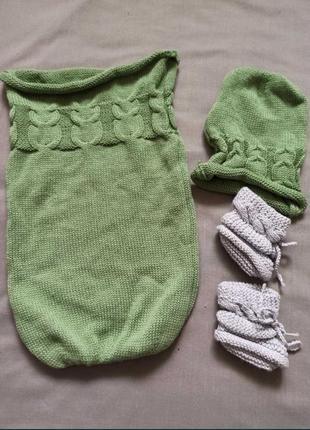 Кокон и шапочка для новорожденных, спальный мешок для фотосессии