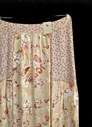 Нежная цветочная юбка макси из жатой ткани в стиле бохо р.14