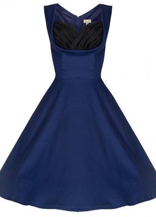 Платье темно синее с вшитым черным лифом коттоновое миди lindy...