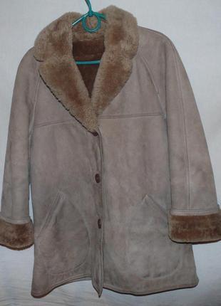 Пальто дубленка женская куртка натуральная кожа замша и мех овцы