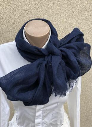 Лен100%,синий,легкий шарф,палантин,италия
