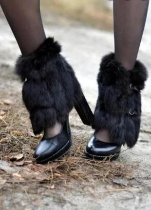 Мех на обувь, манжеты на ноги натуральный мех