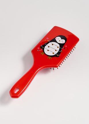 Новая красная расческа массажная щетка принт пингвин гирлянда ...