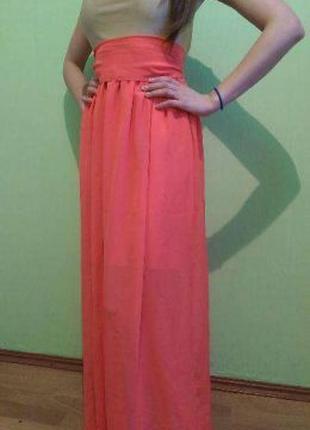 Платье новогодние длинное коралловое вечерние