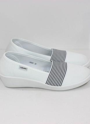 Женские белые летние текстильные туфли балетки эспадрильи на т...