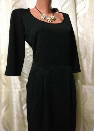Строгое офисное  красивое платье с шифоновой спинкой