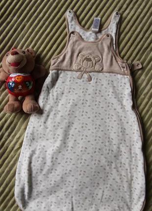 Спальный хлопковый мешок для малыша 0-6 месяцев.