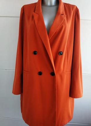 Стильный удлиненный двубортный пиджак primark большой размер
