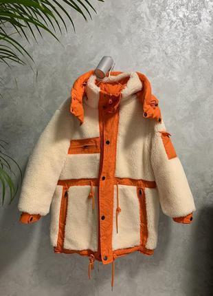 Парка куртка оранжевая двусторонняя овчина шерсть натуральный пух