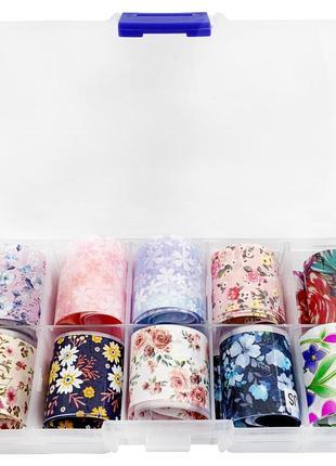 Набор фольги в коробочке для дизайна ногтей 50 см. 10 шт