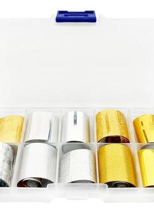 Набор фольги в коробочке для дизайна ногтей 50 см. 10 шт.