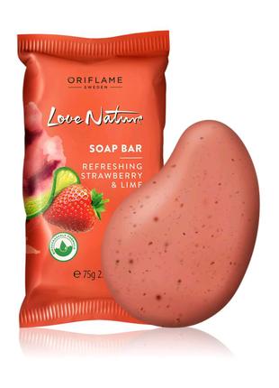 Отшелушивающее мыло с клубникой и лаймом Love Nature