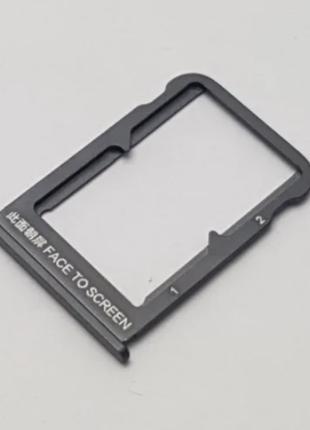 Лоток для сим карты для Xiaomi Mi Mix 3, черный, на две Sim карты