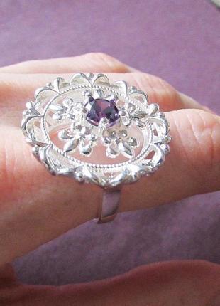 🏵потрясающее кольцо в серебре 925 с цирконом-аметистом, 17 р.,...